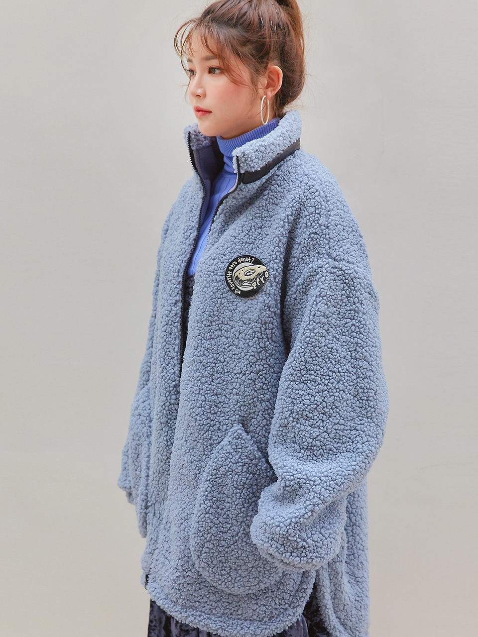 [season off 55%]BOA FLEECE LONG COAT / GRAY