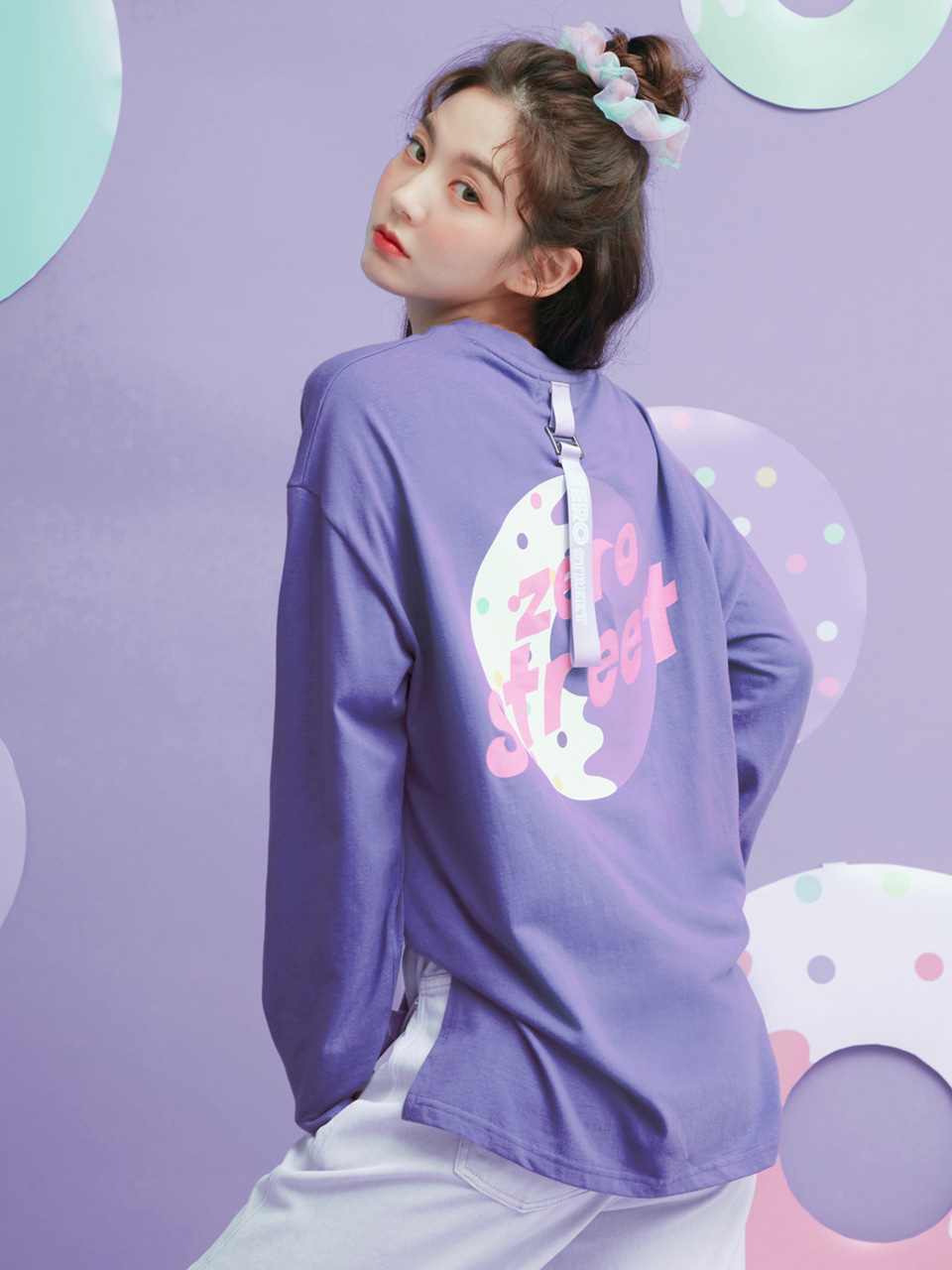 [시즌오프 50%]LONG SLEEVE BACK DONUT T-SHIRT / PAISLEY PURPLE