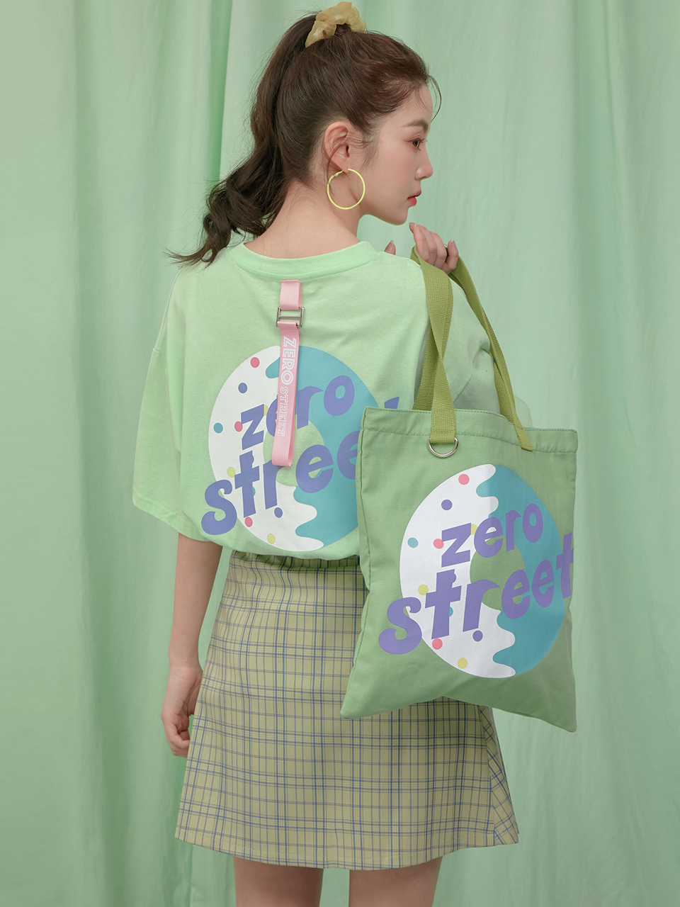 [NEW 30%]백도넛 스트랩 반팔티셔츠 BACK DONUT STRAP T-SHIRT / APPLE MINT