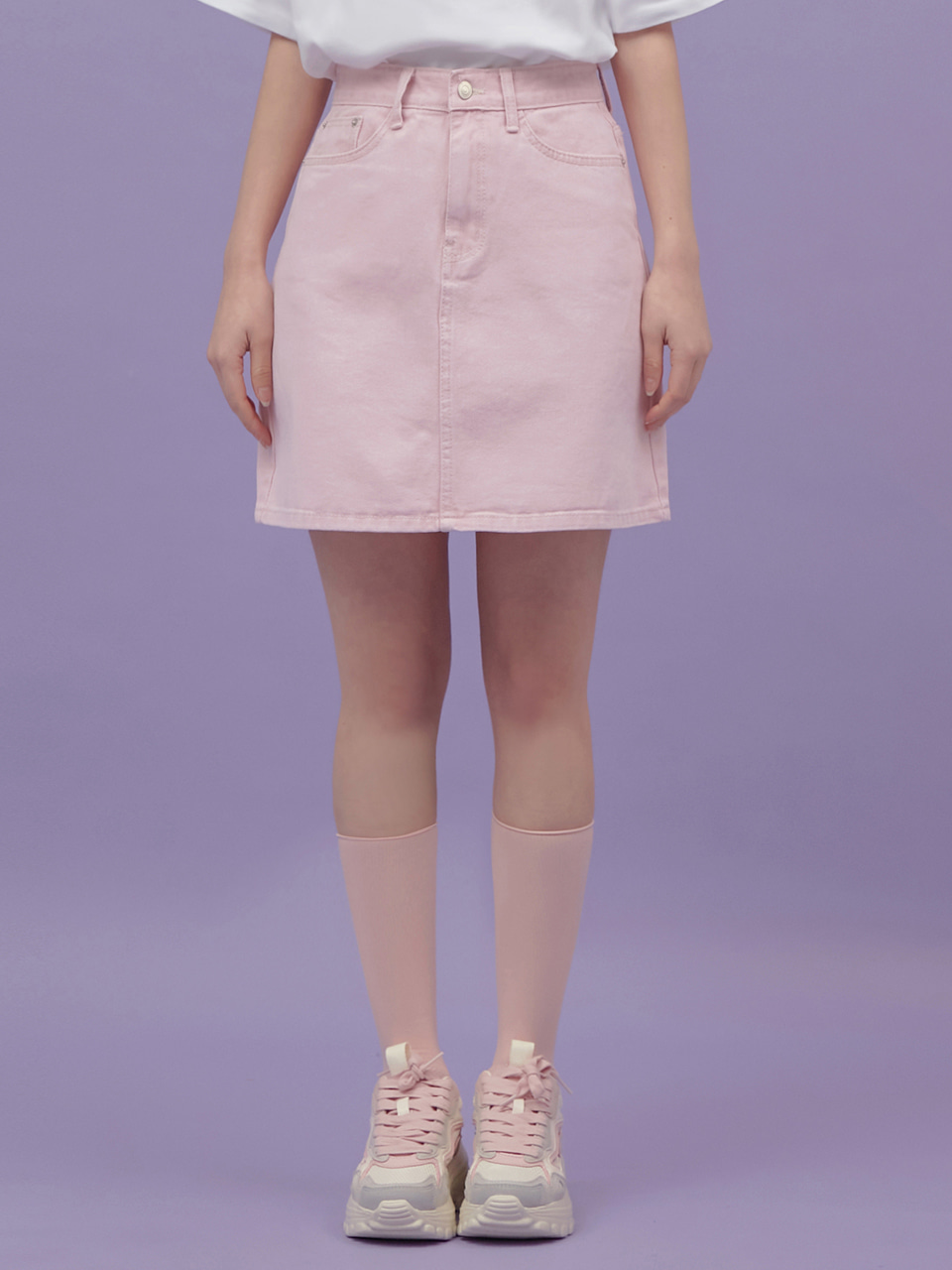 [NEW 30%]핑크 데님 스커트 PINK DENIM SKIRT / PINK